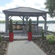 Gazebo / Pergola / Spa Shelter  Dura-tech offers gazebos made of red cedar, whether to install a spa, and outdoor lounge of a dining area, we will create the atmosphere you are looking for.